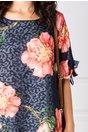 Rochie Patricia din voal jacard bleumarin cu flori corai