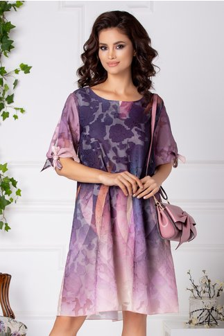 Rochie Patricia din voal jacard violet in degrade