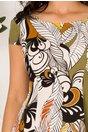 Rochie Patricia kaki cu imprimeu abstract cu frunze