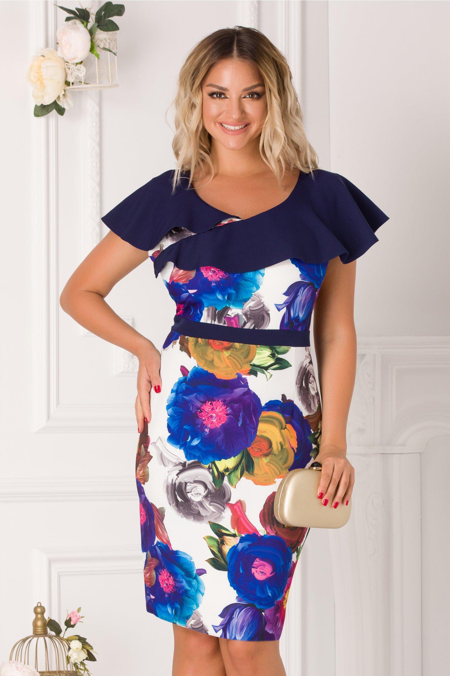 Rochie Patry cu imprimeu floral colorat si volane bleumarin la bust