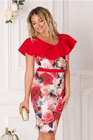 Rochie Patry cu imprimeu floral si volane rosii la bust