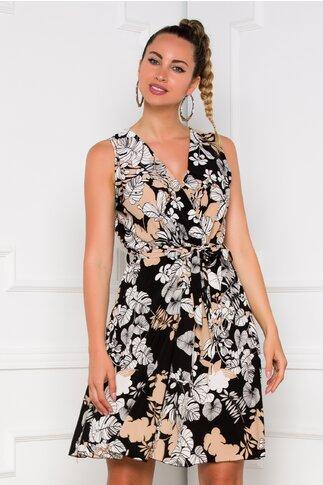 Rochie Patty neagra cu imprimeu floral