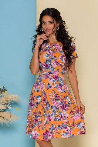Rochie Paula orange cu imprimeu floral si decupaj in V la decolteu