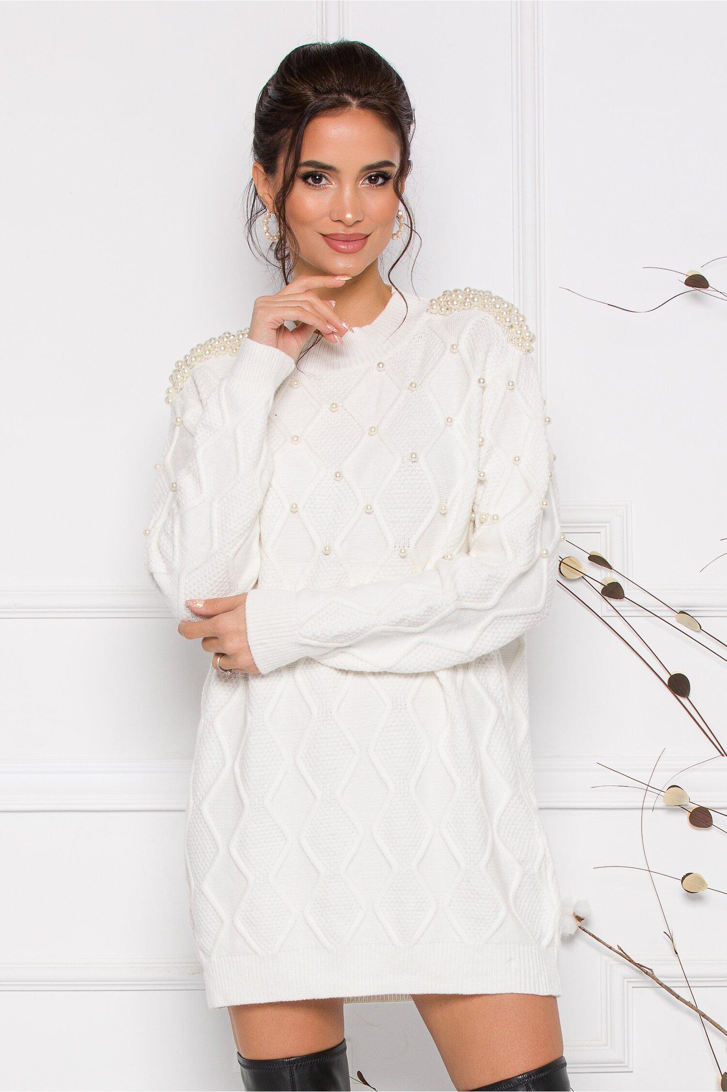 Rochie Pearl alba din tricot accesorizata cu perlute