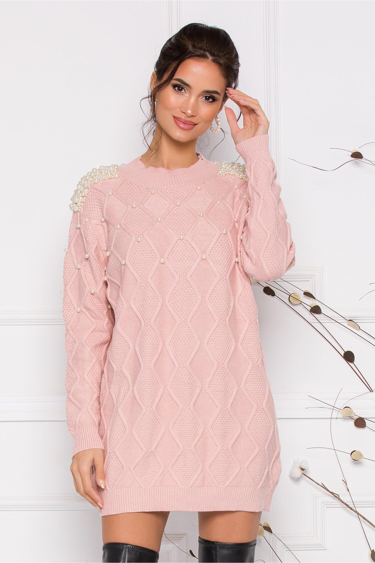 Rochie Pearl roz din tricot accesorizata cu perlute