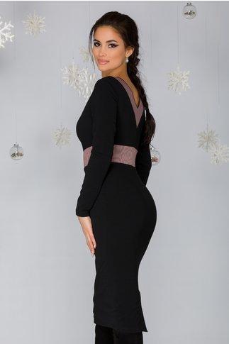 Rochie Penny neagra cu banda elastica roz prafuit