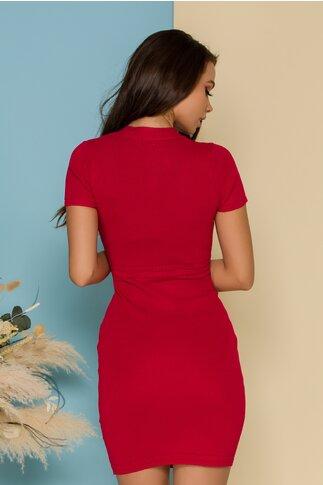 Rochie Penny rosie accesorizata cu nasturi aurii