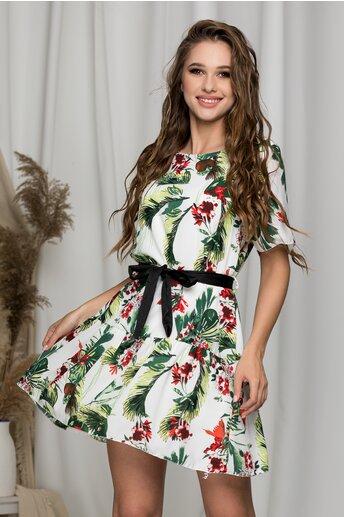 Rochie Petra alba cu imprimeu floral si cordon in talie