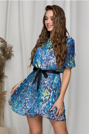 Rochie Petra albastra cu imprimeu divers si cordon in talie