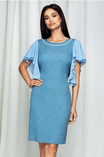 Rochie Petra bleu cu margelute la bust