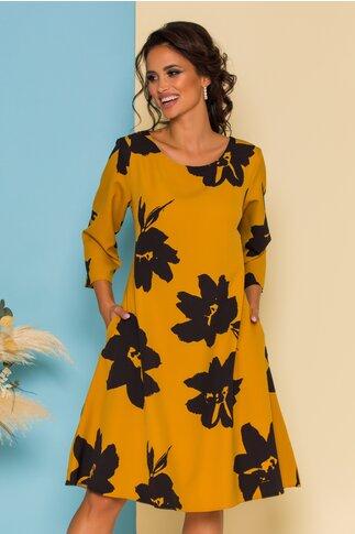 Rochie Petra galbena cu imprimeu floral negru