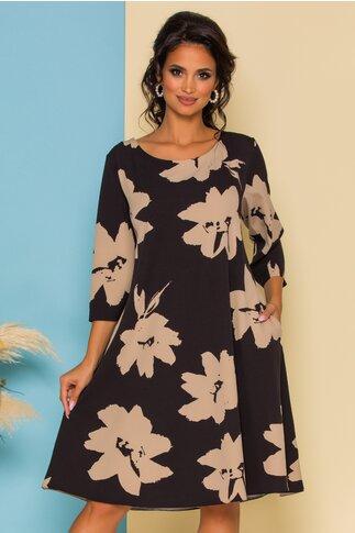 Rochie Petra neagra cu imprimeu floral bej