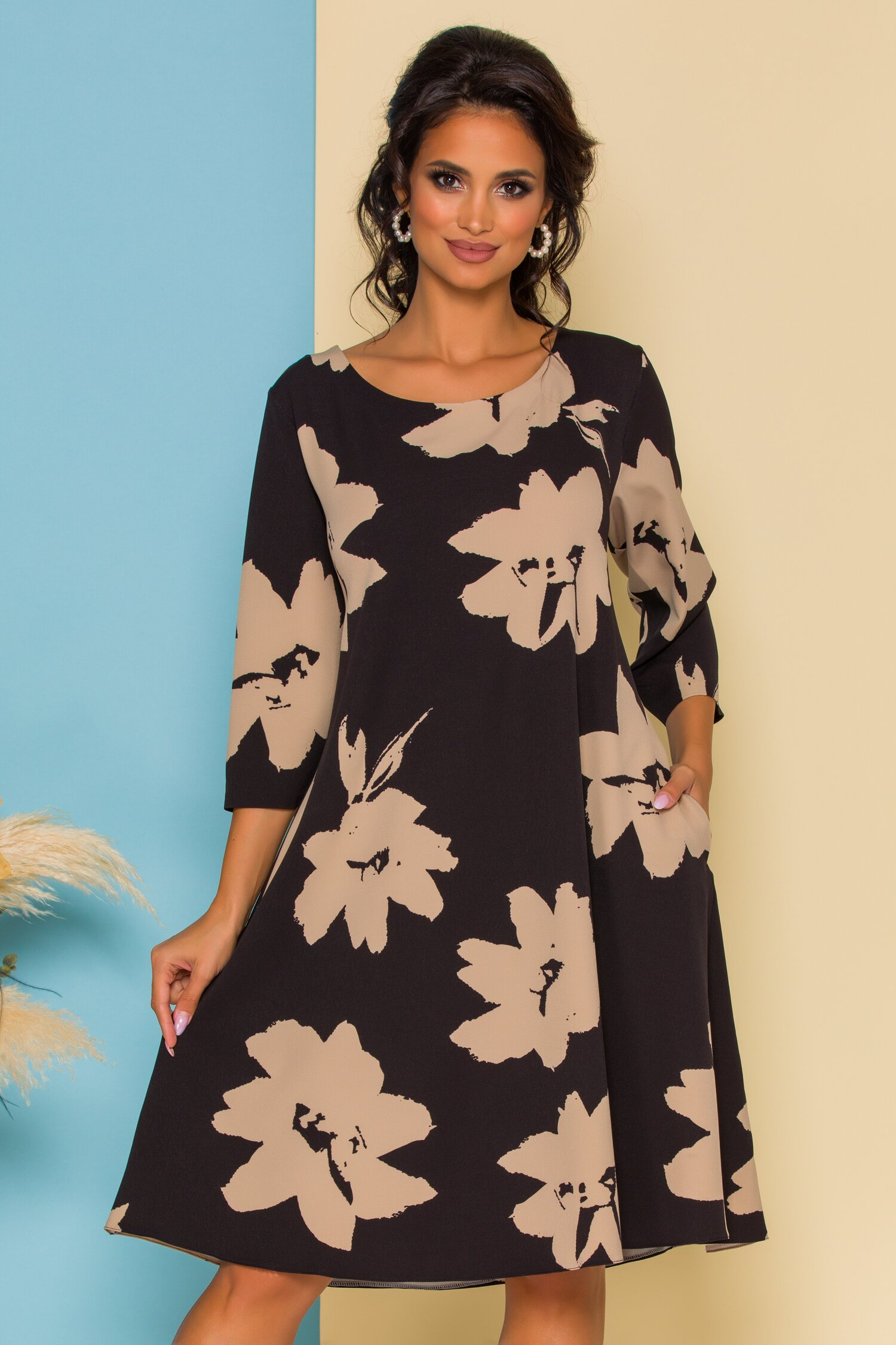 Rochie Petra neagra cu imprimeu floral bej imagine
