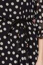 Rochie Petra neagra din voal cu buline albe imprimate