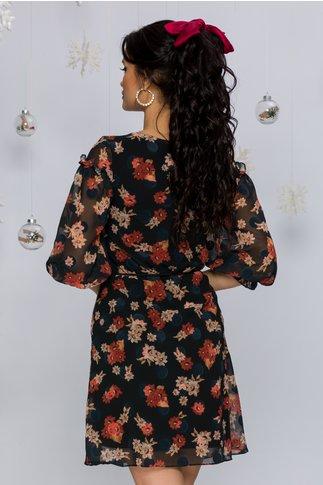 Rochie Petra neagra din voal cu imprimeu floral