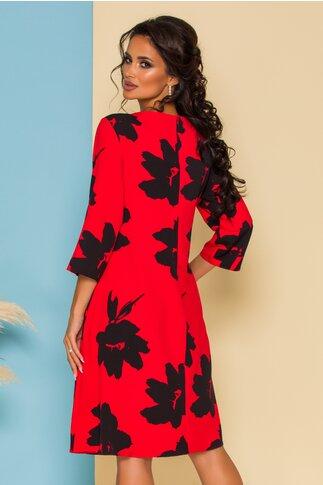Rochie Petra rosie cu imprimeu floral negru