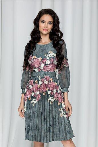 Rochie Petronela kaki cu pliuri pe fusta si imprimeu floral