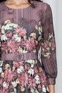 Rochie Petronela mov cu pliuri pe fusta si imprimeu floral