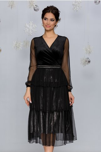 Rochie Pixa neagra cu argintiu cu strasuri in talie si volane