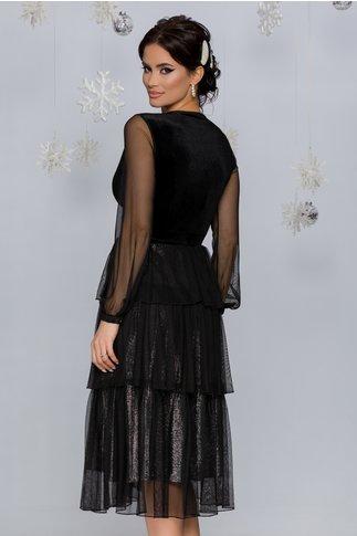 Rochie Pixa neagra cu argintiu cu strasuri in talie si volane
