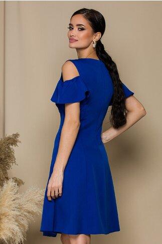 Rochie Preta clos de ocazie albastra cu aplicatii la guler
