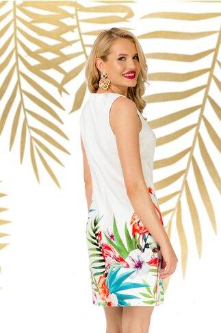 Rochie Pretty Girl alba cu imprimeu estival