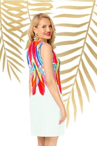 Rochie Pretty Girl alba cu imprimeu multicolor