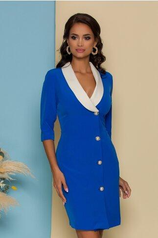 Rochie Pretty Girl albastra cu un rand de nasturi si guler sal