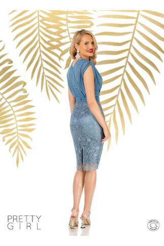 Rochie Pretty Girl bleu cu aspect de doua piese
