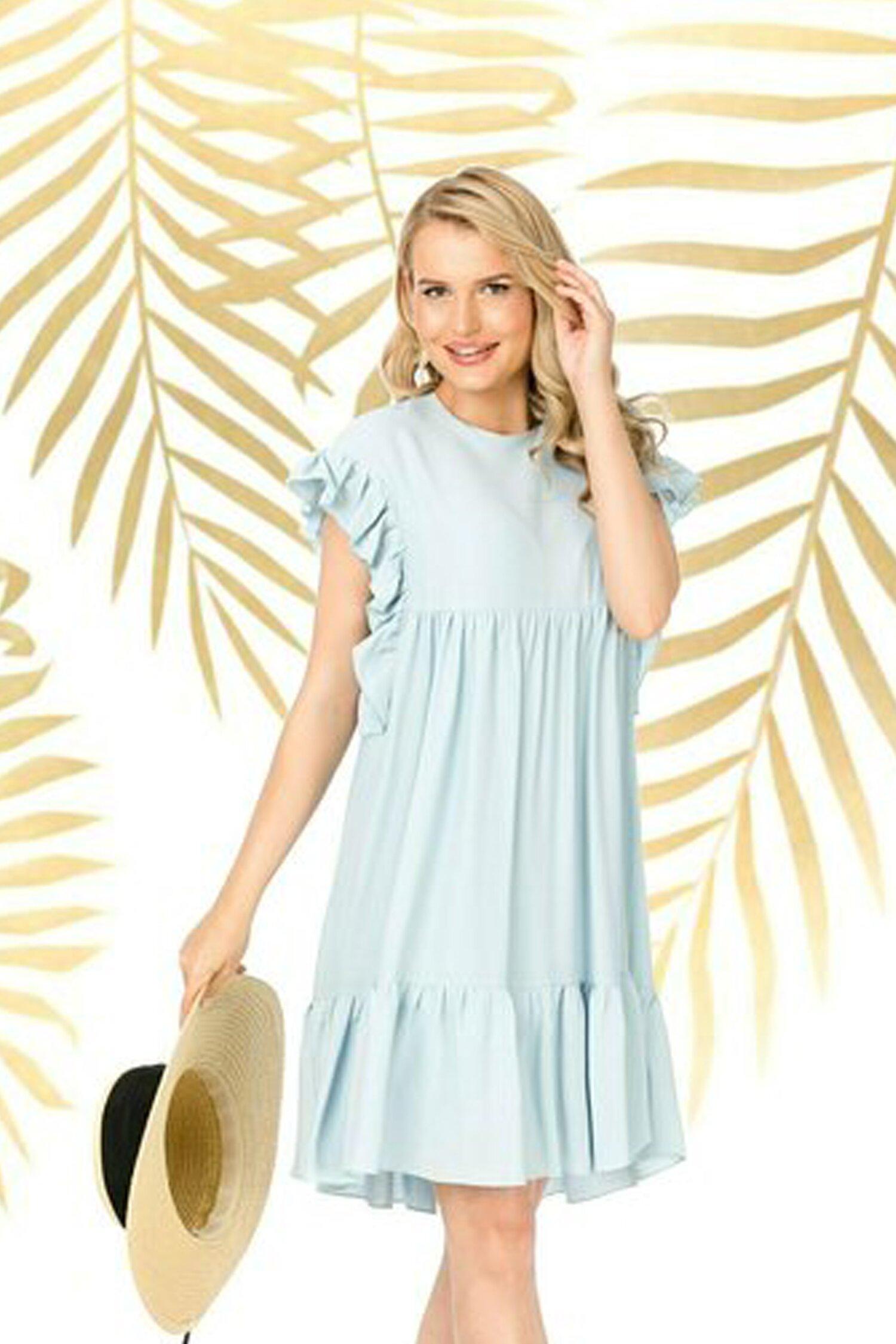 Rochie Pretty Girl bleu lejera de vara cu volane imagine