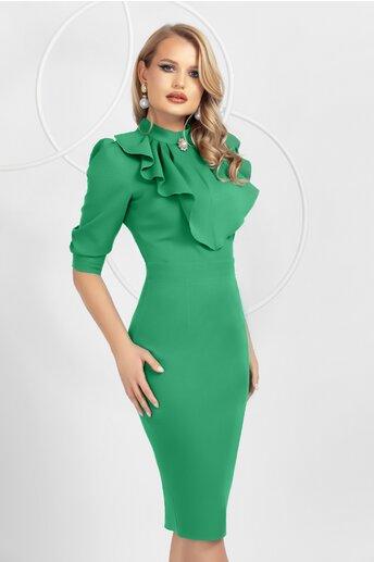 Rochie Pretty Girl conica verde cu jabou la bust