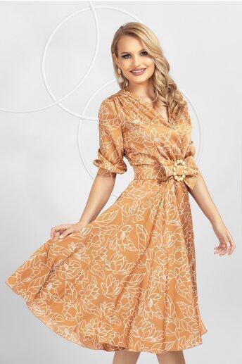 Rochie Pretty Girl maro cu imprimeu floral si funda in talie