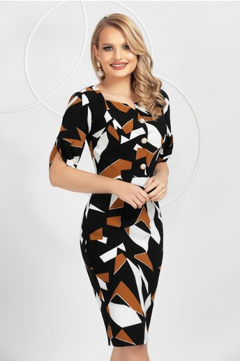 Rochie Pretty Girl neagra cu imprimeuri geometrice in nuante de maro si alb