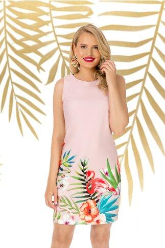 Rochie Pretty Girl roz cu imprimeu estival