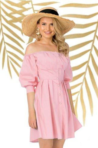 Rochie Pretty Girl roz pudrat cu pliuri in talie