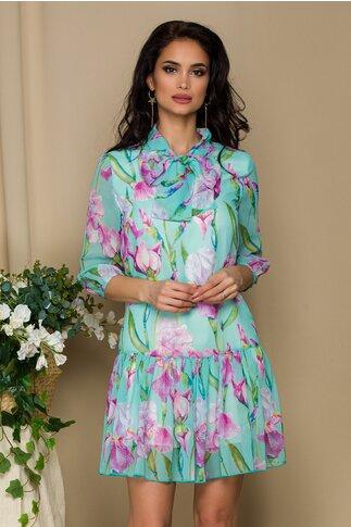 Rochie Pretty Girl turcoaz din voal cu print floral si guler tip esarfa