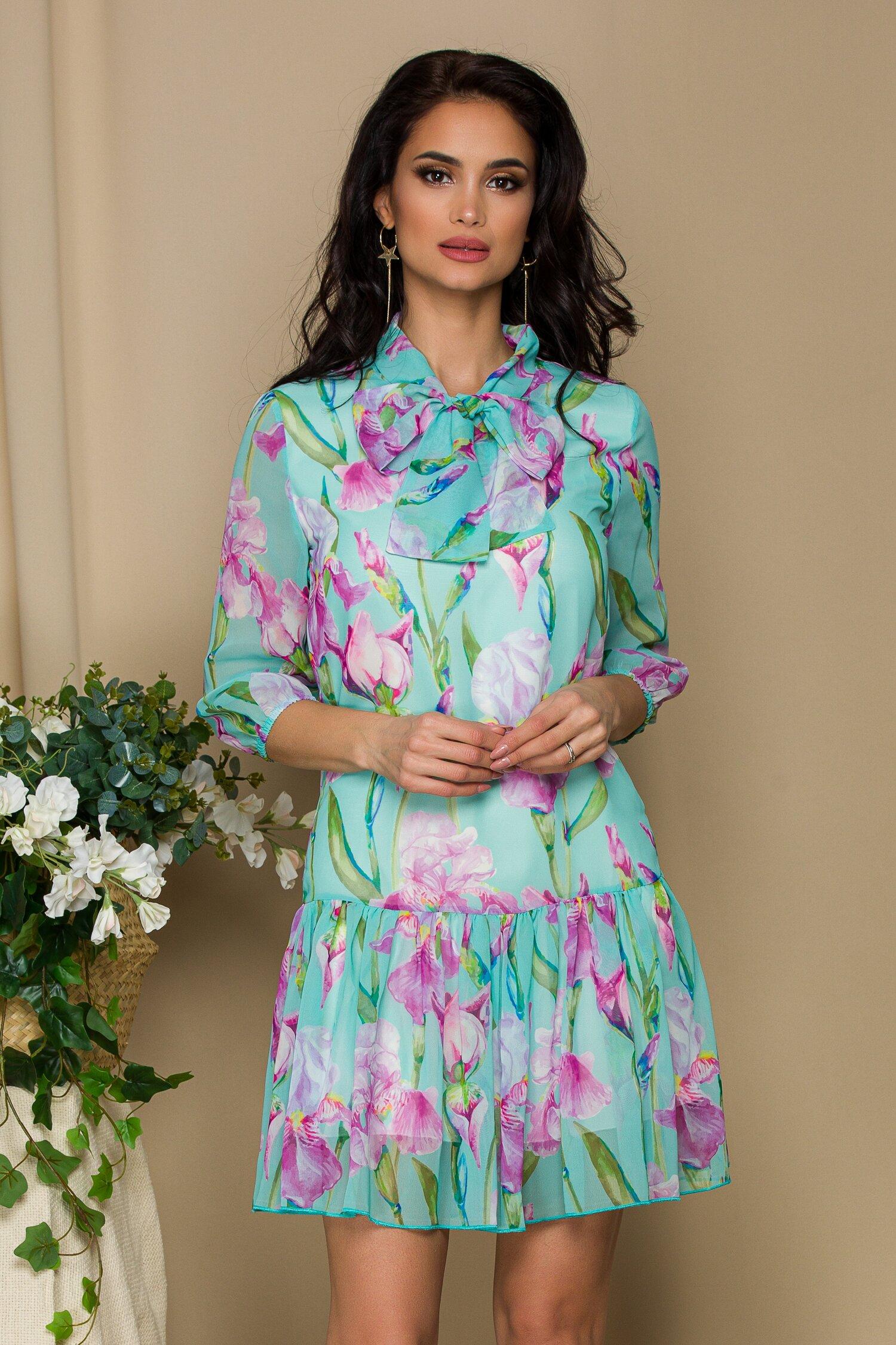 rochie pretty girl turcoaz din voal cu print floral si guler tip esarfa 641955 4