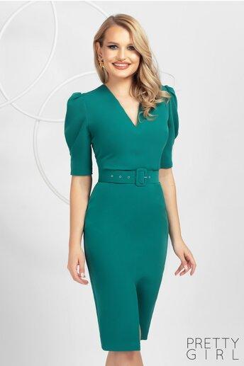 Rochie Pretty Girl verde accesorizata cu o curea in talie si crepeu in fata