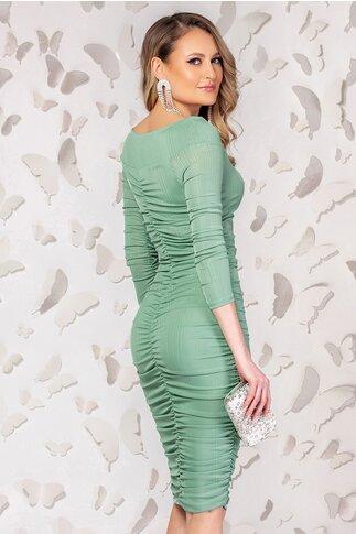 Rochie Pretty Girl verde cu fronseuri in lateral si maneci