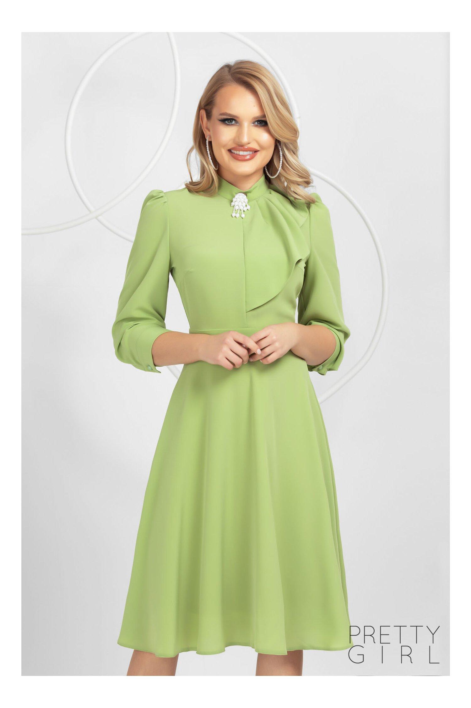 Rochie Pretty Girl verde eleganta în clos cu jabou si broșa detasabila