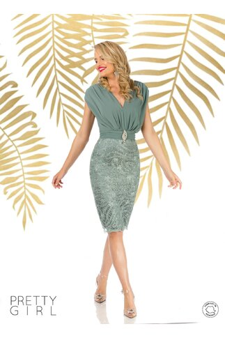 Rochie Pretty Girl verde mint cu aspect de doua piese