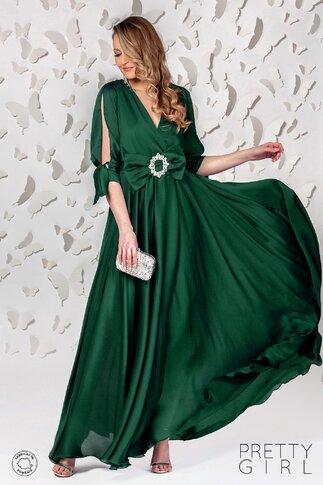 Rochie Pretty Girl verde smarald lunga cu decupaj la maneci