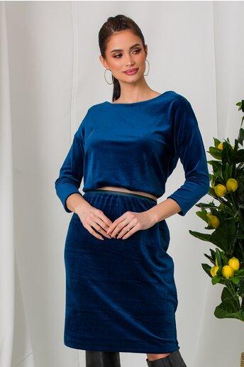Rochie Rachel albastra din catifea cu elastic in talie