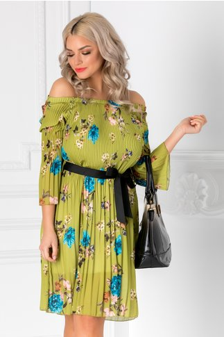 Rochie Rachelle verde plisata cu imprimeu floral