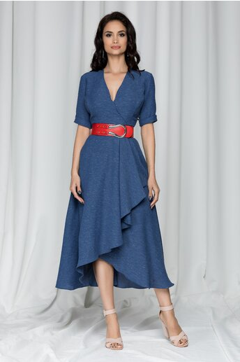 Rochie Radmila albastra accesorizata cu o curea rosie in talie