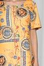 Rochie Rafaela galbena cu decolteu rotund si imprimeu divers