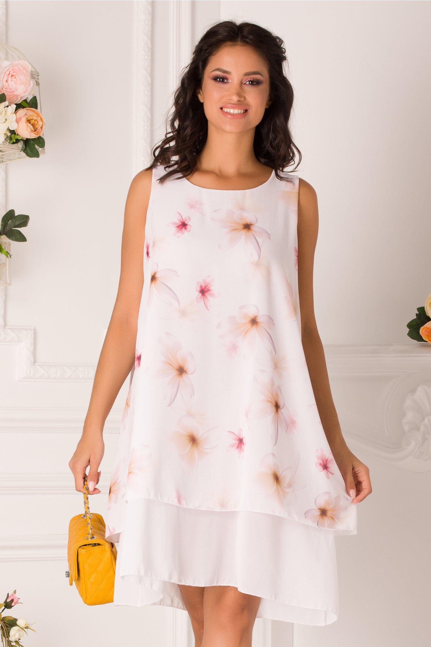 Rochie Raisa alba din voal cu imprimeu floral
