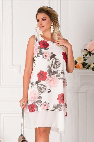 Rochie Raisa alba din voal cu trandafiri rosii