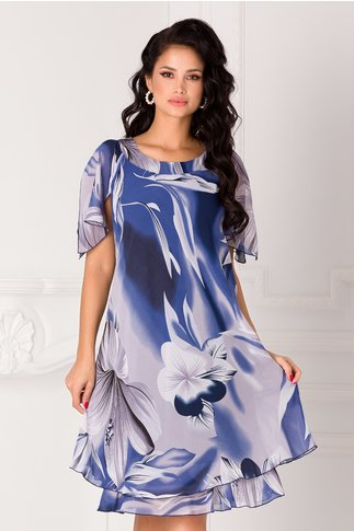 Rochie Raisa albastra vaporoasa cu imprimeu floral gri
