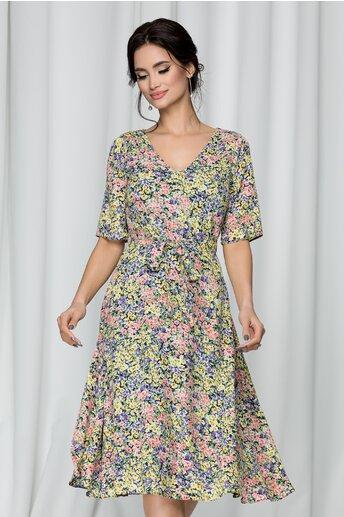 Rochie Raisa bleumarin cu imprimeu floral
